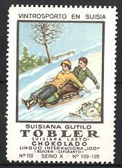 Reklamemarke Tobler Suisiana Lakto Chokolado, Vintrosporto En Suisia, Suisiana Glitilo, Paar rodelt mit Schlitten