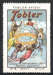 Reklamemarke Tobler Suisiana Lakto Chokolado, Tobler -Afishi, Menschen verschiedener Kulturen mit Globus