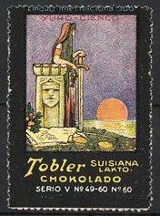 Reklamemarke Tobler Suisiana Lakto Chokolado, Yuro-Cienco, Justitia mit Schwert, Waage liegt auf dem Boden