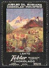 Reklamemarke Tobler Suisiana Lakto Chokolado, Lakto, Almbauern melken ihre Kühe