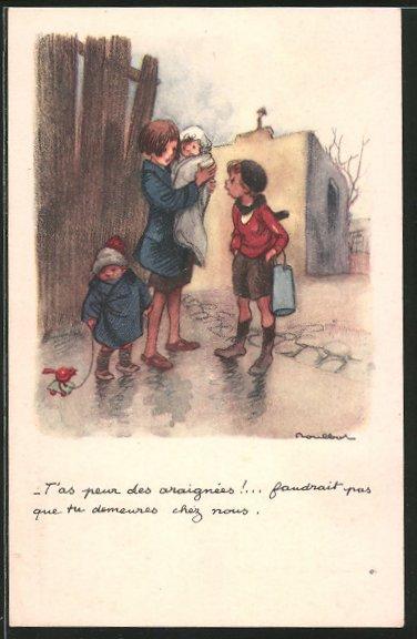Künstler-AK Francisque Poulbot: Ligue Nationale contre le Taudis Waisen in Ruinen