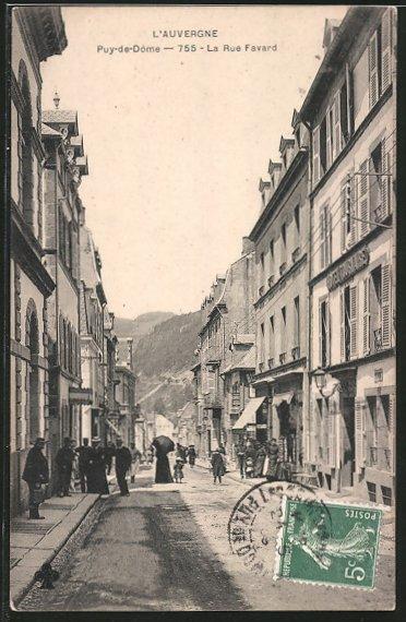 AK Puy-de-Dome, La Rue Favard, Strassenpartie