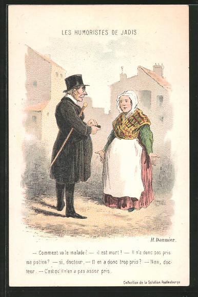 Künstler-AK sign. Honore Daumier: Les Humoristes de Jadis, Mann mit Bauernfrau im Gespräch