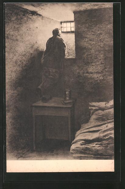 AK Dans la forteresse, Häftling guckt aus dem Gefängnisfenster