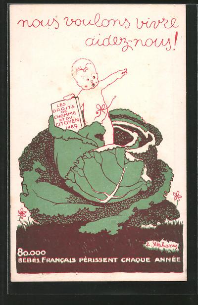 Künstler-AK Bureau d'Assistance a l'Enfance, Kind fordert die Menschen- u. Bürgerrechte ein, Kinderfürsorge
