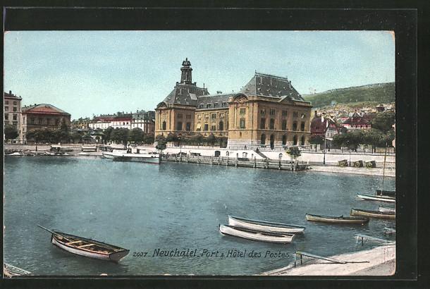 AK Neuchatel, port & hôtel des Postes