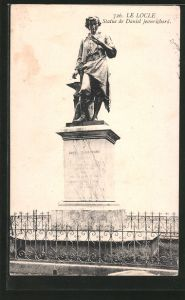 AK le Locle, statue de Daniel Jeanrichard