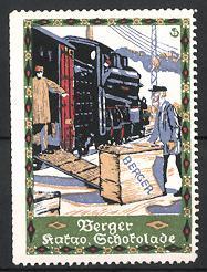 Reklamemarke Künstler-Reklamemarke Sigmund von Suchodolski, Berger Kakao & Schokolade, Eisenbahn wird beladen