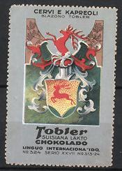 Reklamemarke Tobler Suisiana Lakto Chokolado, Cervi E Kapreoli, Blazono Tobler, Firmen-Wappen