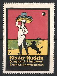 Reklamemarke Kloster Nudeln, Sanssouci Maccaroni, Koch wird von Pudel verfolgt