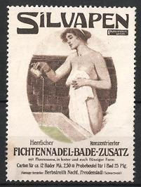 Reklamemarke Freudenstadt, Silvapen Fichtennadel-Badezusatz, Herbstreith Nachf., nacktes Mädchen im Badezimmer