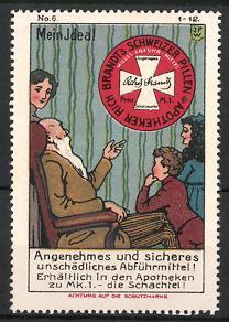 Reklamemarke Künstler-Reklamemarke Johann Peter Werth, Rich. Brandt's schweizer Pillen, Grossvater berichtet über Abführm