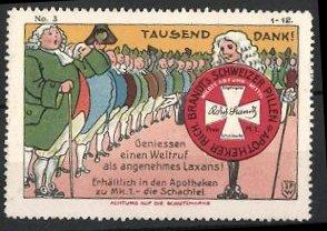 Reklamemarke Künstler-Reklamemarke Johann Peter Werth, Rich. Brandt's schweizer Pillen, Zivilisten & Schachtel Abführmit