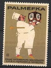 Künstler-Reklamemarke Ludwig Hohlwein, München & Hamburg, Palmefka, Franz Kathreiners Nachf. GmbH, Koch mit Margarine