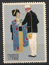 Künstler-Reklamemarke Ludwig Hohlwein, Marco Polo Tee, Geisha serviert Tablett mit Tee