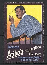 Reklamemarke Dresden, Delta Zigarettenfabrik, Raucht Atikah Zigaretten, Türke raucht Zigarette 0