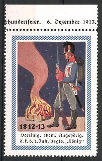 Reklamemarke Vereinigung ehem. Angehöriger des Inf.-Regts. König, Befreiungskriege 1812-13, Soldat am Lagerfeuer