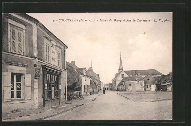 AK Soucelles, Milieu du bourg et rue du Commerce