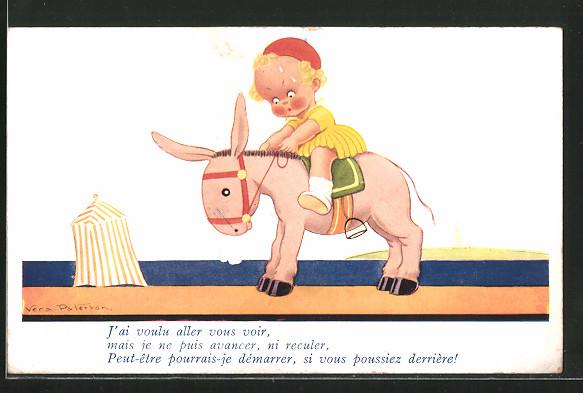 Künstler-AK Vera Paterson: Mädchen reitet auf einem Esel