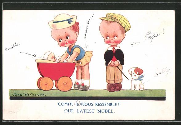 Künstler-AK Vera Paterson: Kinder gehen mit einem Puppenwagen und Hund spazieren