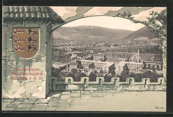 Passepartout-Lithographie Geislingen, Württembergische Metallwarenfabrik aus der Vogelschau, Wappen