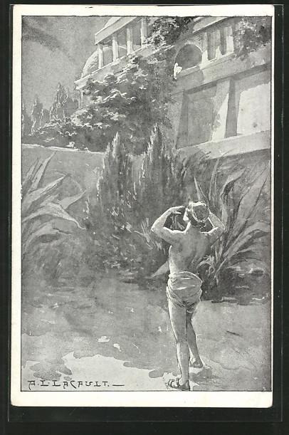 Künstler-AK sign. A. L. Lacault: Mann ruft über die Mauer