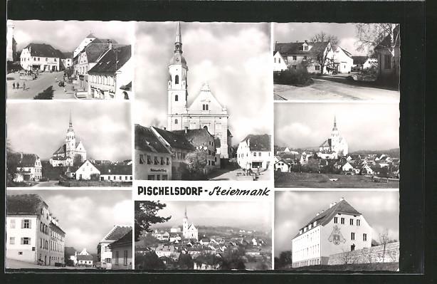 AK Pischelsdorf, Kirche, Strassenpartien mit Gebäudeansicht, Gesamtansicht