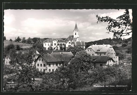 AK Nestelbach, Teilansicht mit Kirche