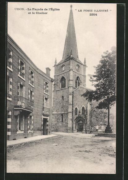 AK Usson, La facade de l'église et le clocher