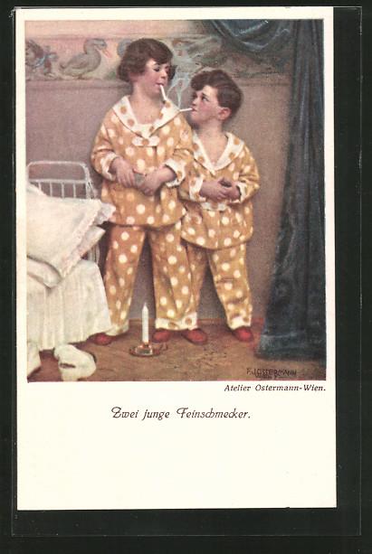 Künstler-AK F.J.Ostermann: Zwei junge Feinschmecker, Kinder rauchen vor dem zu Bett gehen
