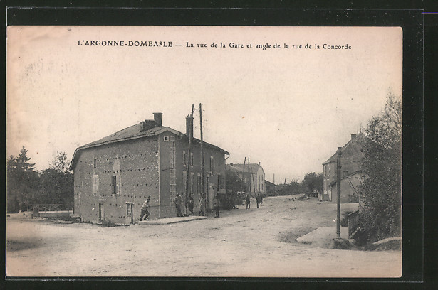 AK Argonne Dombasle, La rue de la Gare et angle de la rue de la Concorde