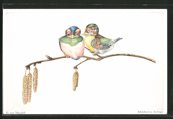 AK Bunte Vögel auf einem Ast