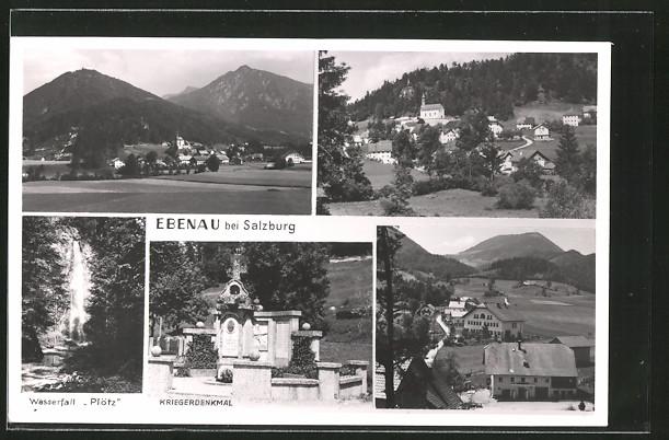 AK Ebenau, Kriegerdenkmal, Wasserfall Plötz, Ortspartie