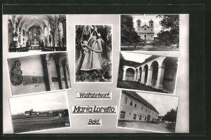 AK Maria Loretto, Aussen- und Innenansicht der Kirche