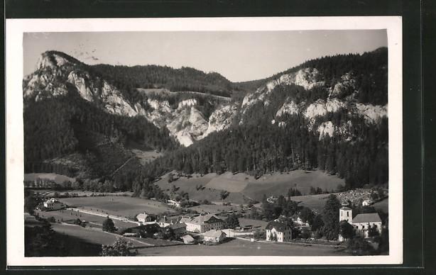 AK Schwarzau i. Gebirge, Panoramaansicht mit Falkenstein