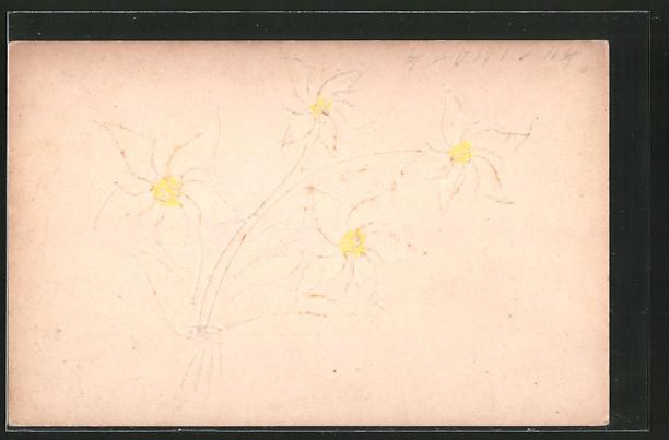 Papierkunst-AK Bildnis von Blumen