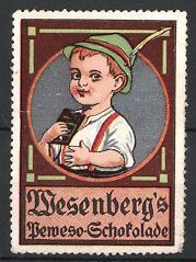 Reklamemarke Wesenberg's Schokolade, Knabe mit Hut & Tafel Schokolade