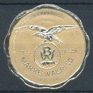 Präge-Reklamemarke Walring, Adler mit Schutzmarke & Walfisch