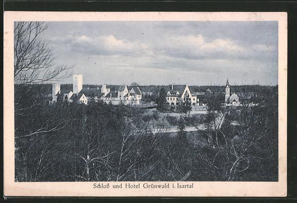 AK Grünwald, Ausblick auf das Schloss und Hotel Grünwald