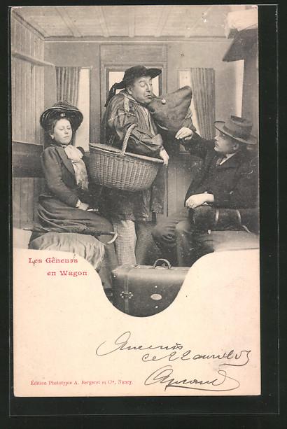 AK les gêneurs en wagon, Mann mit viel Gepäck in einem Zugabteil, französische Eisenbahn