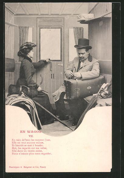 AK en wagon VII, Paar in einem Zugabteil, französische Eisenbahn