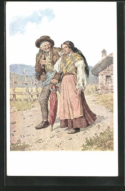 Künstler-AK Alois Greil: der Kirchgang, Alter Mann und Frau mit Schirm