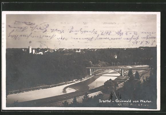 AK Grünwald, Grünwald von Westen, Isartal