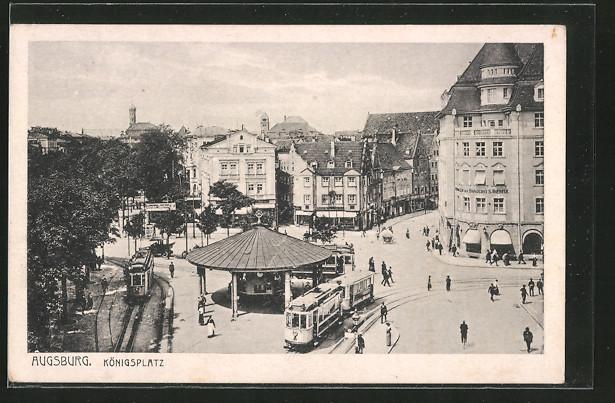 AK Augsburg, Königsplatz mit Strassenbahn