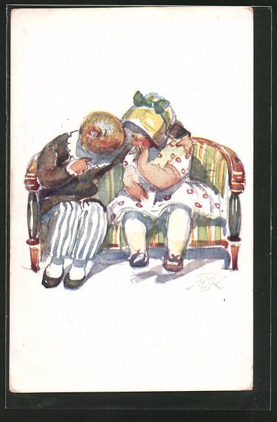 Künstler-AK M.Fischerova-Kvechova (MFK): Mädchen flüstert ihrem Freund etwas ins Ohr