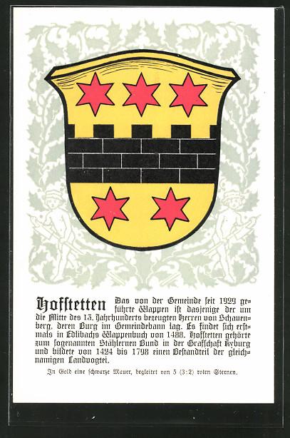 AK Hoffstetten, Wappen mit schwarzer Mauer & roten Sternen