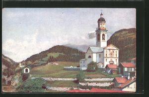 AK Tiefencastel, Partie an der Kirche