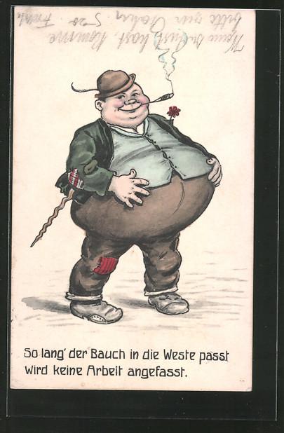 AK übergewichtiger Mann mit einem Kugelbauch