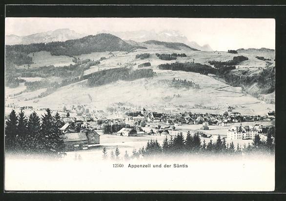 AK Appenzell, Ortsansicht mit Säntis