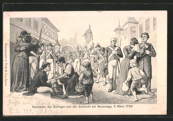 AK Zofingen, Heimkehr der Zofinger von der Schlacht bei Neuenegg 5.3.1798